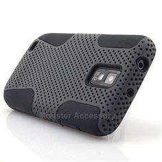 Click Image to Browse: $8.95 Grey Black APEX Hard Case Gel Cover For Samsung Galaxy S2 (Hercules)