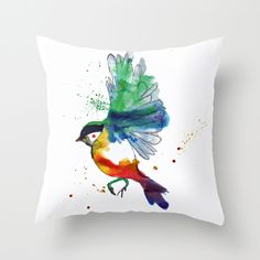 Beautiful watercolor bird pillow http://society6.com/annaleighlouise