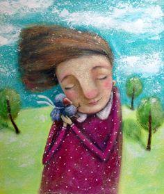 """Встреча:) картон, акрил, 30х35 см. Свободна.  По-прежнему вдохновляюсь работами Елены Брызгаловой @ebryzgalova , но неизбежно ухожу в """"своё"""" :) #dilkkawork #artist #art #artwork #acrylics #girl #autumn  #bird #покажисвоюработу #попытка #пробапера #childrenillustration #children #acrylicpainting #game #игра #осень #девочка #сад #птичка #горошек"""