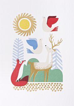 Scandinavian-inspired card by designer and print maker Nadia Taylor for Lagom (via Print & Pattern).