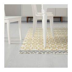 ALVINE RUTA Teppich flach gewebt, weiß/gelb Handarbeit weiß/gelb