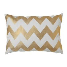 Gold Chevron Pillow - Great idea to use metallic paints to stencil in your chosen patterns.