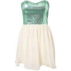 Rare London Sequin Aqua Babydoll Dress ❤ liked on Polyvore
