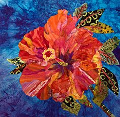 "Art Quilts for Sale | Tropical Flower - 27"" X 27"" - $1,100.00"
