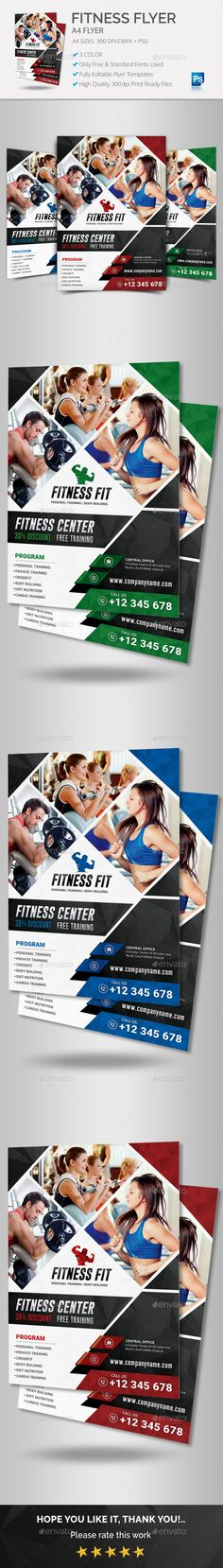 Fitness Flyer Vol 01 by CEYOZER Fitness Flyer Vol 01. Professional Designs.FeaturesA4 SizePSD Fully Editable Template Included Print Ready CMYK PSD FilesHigh Qual