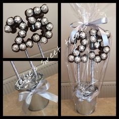 silver wedding anniversary sweet tree created using ori.- silver wedding anniversary sweet tree created using original ferrero rocher… silver wedding anniversary sweet tree created using original ferrero rochers - 25th Anniversary Gifts, Silver Anniversary, Chocolate Flowers, Chocolate Bouquet, Homemade Gifts, Diy Gifts, Candy Trees, Sweet Trees, Candy Crafts
