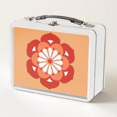#Lotus Flower Mandala Pastel Orange and Mandarin Metal Lunch Box - #flower gifts floral flowers diy