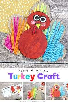 Yarn Wrapped Turkey Craft for Kids: A tactile kids craft for Thanksgiving - Incorporating painting, cutting, threading and sticking, there's plenty to keep children busy, + strengthen little ones fine motor skills whilst they're at it. And children will love getting so hands-on and creative with the different elements. Thanksgiving Crafts for Kids Turkey | Thanksgiving Yarn Crafts for Kids | Thanksgiving Turkey Crafts for Kids | Thanksgiving Yarn Wrapping for Kids | Yarn Wrapping Crafts for… Easy Yarn Crafts, Yarn Crafts For Kids, Fox Crafts, Easy Arts And Crafts, Craft Activities For Kids, Preschool Crafts, Autumn Activities, Toddler Crafts, Thanksgiving Crafts For Toddlers