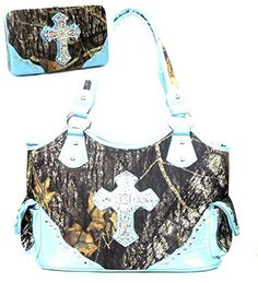 Western Large Canvas Blue Camouflage Cross Rhinestone Purse W Matching Wallet - Handbags, Bling & More!