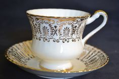 White and Gold Paragon Teacup and Saucer Duo, c. 1963-