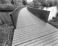 The Sackler Crossing, installed in 2006, gives easy access to some of Kew's less visited areas. The black granite walkway leads you over the water along a curving path that mimics the Lake's rounded banks. On approaching the bridge, its walls appear to form a solid boundary that gradually begins to disappear when viewed sideways on.