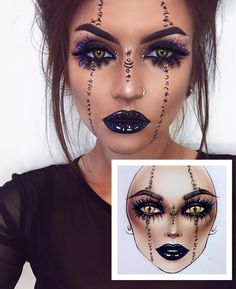 Are you looking for ideas for your Halloween make-up? Check this out for cute Halloween makeup looks. Makeup Clown, Halloween Makeup Witch, Cute Halloween Makeup, Witch Makeup, Halloween Makeup Looks, Costume Makeup, Scary Halloween, Voodoo Makeup, Angel Makeup