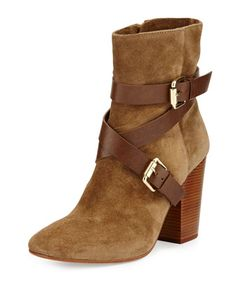 Pacey+Harness+Buckle+Bootie,+Dark+Brown+by+VC+Signature+at+Neiman+Marcus.
