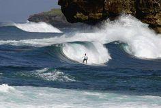 Surfing at Watu karung beach, pacitan