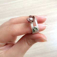 silver ring with copper flower and colored leaves.cute by LalipArt