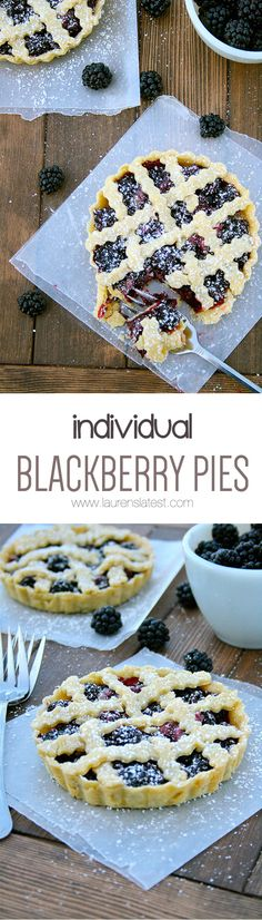 Individual Blackberry Pies... Too cute for words!