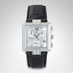 Concord La Scala Square Dial Bezel Chronograph with Black Leather Strap 0310322 Concord Watches, Square Watch, Chronograph, Black Leather, Diamond, Accessories, Diamonds, Jewelry Accessories