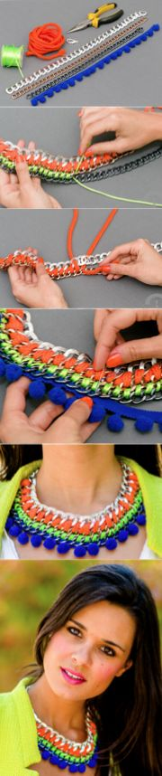 DIY mexican kahlo style necklace,the colours are awful in the tutorial but with authentic colours and maybe the addition of some beading on the fabrics and this could look fantastic and made easily too necklace Colar Neon, Diy Neon Necklace, Diy Fashion, Jewelry Crafts, Jewelry Ideas, Fabric Jewelry, Boho Jewelry, Handmade Jewelry, Armband
