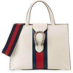 Gucci Dionysus Medium Web-Stripe Top-Handle Bag (53.415.525 VND) ❤ liked on Polyvore featuring bags, handbags, white, genuine leather handbags, gucci handbags, leather zip tote, leather tote and white leather tote