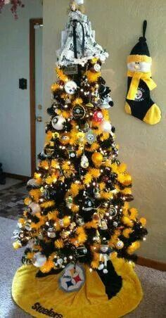 Are you a Steelers fan? Test yourself against true Steelers Fans who've told us why they are a Steelers fan for life! Here we go Steelers! Creative Christmas Trees, Christmas Tree Themes, Holiday Tree, Xmas Tree, All Things Christmas, Christmas Ideas, Merry Christmas, Christmas 2014, Gold Christmas