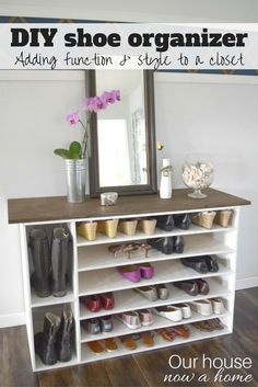 How to make a DIY shoe organizer and rack for the closet. This is also pretty enough to be a great addition to a room as a furniture piece, with tons of storage! Full tutorial and a ton of details to make this yourself. This is made with plywood, such a low cost option!