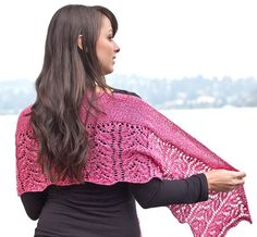 Cascade Ultra Pima Quatro Rose Garden Shawl Free Downloadable Pattern Paradise Fibers #free #knitting #pattern I'd make it 5 rows longer (if I could knit this well - I'm still on the knit/pearl/ripitalloutandstartoveragain stage of knitting :))