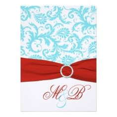 Red And Aqua Blue Wedding | Aqua And White Damask With Red Faux Ribbon >> Wedding Invitations