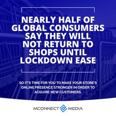 """According to #GlobalWebIndex, """"Nearly half of global consumers say they will not return to shops 🛒until #Lockdown 👽 ease."""" So it's time to make your store's online presence stronger 👨💻 to acquire new #Customers. 🚀 Talk to Experts now: Ecommerce, Shops, Make It Yourself, Sayings, How To Make, Tents, Lyrics, E Commerce, Retail Stores"""