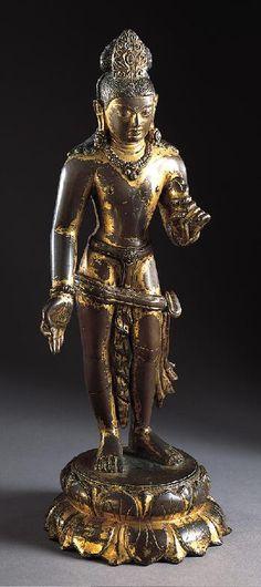 Bodhisattva Avalokiteshvara (?), 10th century Nepal or Tibet, 900-999 Gilt-copper alloy 13-1/2 x 4-7/8 in. (34.3 x 12.4 cm) The Norton Simon Foundation