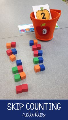 Fun skip counting activity for the kindergarten or first grade classroom. This fall math activity goes along great with the book How Many Seeds in a Pumpkin? Skip Counting Activities, Counting In 2s, First Grade Activities, First Grade Math, Math Games, Math Activities, Grade 1, Kindergarten Math, Teaching Math