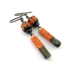 Orange and Brown Rustic Ceramic Earrings  by CinLynnBoutique