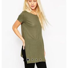 Longline Top with Side Splits Thin ribbed jersey, round neckline, side splits. Purchased from ASOS, worn once. ASOS Tops Tees - Short Sleeve