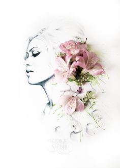 Completed mixed media fashion inspired beauty portrait illustration with fresh flowers | Georgie St Clair Art & Illustration