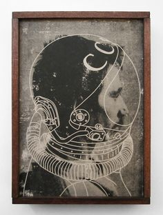 Danny Schutt - Cosmonaut, 2012. Acrylic transfer and paper on wood panel