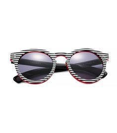 Illesteva Striped Leonard II Sunglasses in Black and White