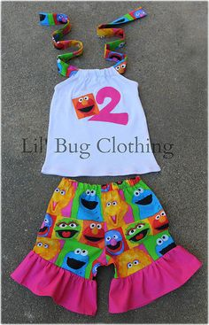 Elmo Cookie Monster Big Bird Sesame Street Personalized Birthday Short Set  sold by Lil Bug Clothing. Shop more products from Lil Bug Clothing on Storenvy, the home of independent small businesses all over the world.