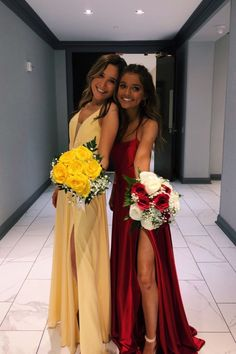 one girl wear simple yellow chiffon prom dress with side slit, the other one wears gorgeous red satin prom dress with slit. one girl wear simple yellow chiffon prom dress with side slit, the other one wears gorgeous red satin prom dress with slit. Pretty Prom Dresses, Hoco Dresses, Dance Dresses, Wedding Dresses, Yellow Ball Dresses, Evening Dresses, Senior Prom Dresses, Simple Prom Dress, Bridesmaid Dresses