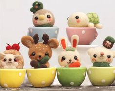 Set of 6pcs Little Animals with Cups Needle Felting DIY Kit by APHandcrafts on Etsy https://www.etsy.com/listing/233223169/set-of-6pcs-little-animals-with-cups