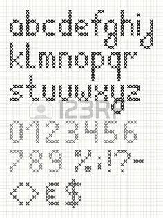 Point de croix alphabet anglais avec des chiffres et des symboles Lettres minuscules Banque d'images