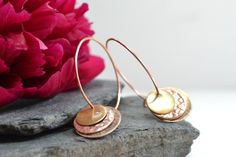 Copper and textures disk earrings £15.00