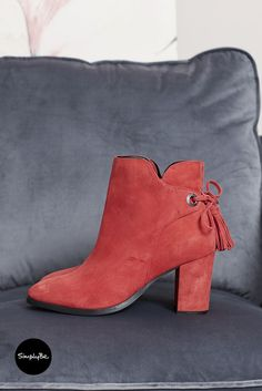 Make a statement in these soft suede leather ankle boots with block heels from Heavenly Soles. Back tie detail with tassels and an inside zip for easy on and off. Leather Ankle Boots, Suede Leather, Wide Fit Shoes, Color Pop, Colour, Soft Suede, Block Heels, Footwear, Booty