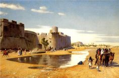 An Arab Caravan outside a Fortified Town, Egypt - Jean-Leon Gerome