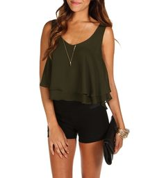 Olive Tiered Crop Top at WindsorStore