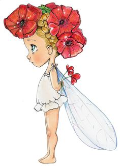 Easy Drawings Emmanuelle Colin Imgenes t Dibujo Ilustraciones y Copic Drawings, Fairy Drawings, Cute Drawings, Baby Painting, Elves And Fairies, Fairy Art, Anime Art Girl, Cute Images, Whimsical Art