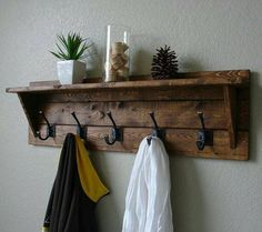8 Motivated Clever Tips: Floating Shelves Laundry floating shelf frames living rooms.Floating Shelves Decoration Interior Design floating shelves fireplace the wall. Entryway Shelf, Entryway Decor, Apartment Entryway, Entryway Coat Rack, Pallet Furniture, Rustic Furniture, Antique Furniture, Furniture Ideas, Furniture Buyers