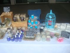 La Sirène Aromatica table at the Newmarket International food and goods market. Scented Soy Candles, handmade Soap, Massage Candles, Room Mists and Aromatherapy Perfume.