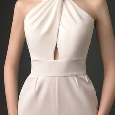 Modern / Fashion Ivory Jumpsuit 2019 Halter Sleeveless Ankle Length Backless Evening Dresses - Jumpsuits and Romper Glamorous Evening Dresses, Grey Evening Dresses, Burgundy Evening Dress, Elegant Dresses, Prom Dress Shopping, Online Dress Shopping, Girly Outfits, Ladies Dress Design, Modern Fashion