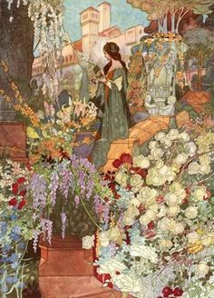 """The Sensitive Plant by Percy Bysshe Shelley (1792-1822); illustrated by Charles Robinson (1870-1937) ---     """"That garden sweet, that lady fair,     and all sweet shapes and odours there,    in truth have never passed away:    'Tis we, 'tis ours, are changed; not they.     For love, and beauty, and delight,    there is no death nor change: their might      exceeds our organs, which endure    no light, being themselves obscure."""""""
