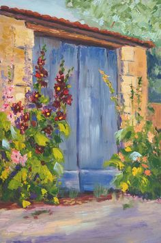 """Original Oil palette knife painting 'Hollyhock Village part 2' Impressionist Landscape, Provence Village, Oil on 3-ply wood panel 30 x 20cm (approx 7""""x12"""") © Marion Hedger, all rights reserved. #oilpainting #provencelandscape #landscapepainting"""