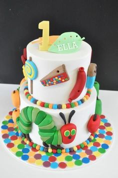 Very Hungry Caterpillar cake! Even has my girls name on it. Come on November. We have a big birthday to throw!!